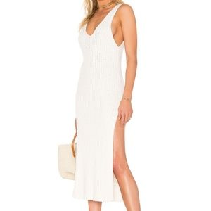Free People white ribbed sweater tank dress